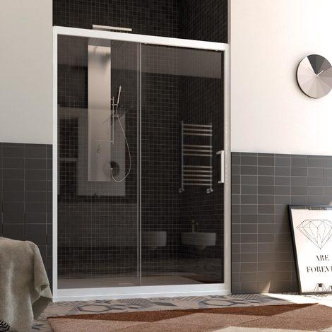 Porte de Douche en PVC 150 CM H190 Transparent mod. Glax Porte Unique Profil Blanc