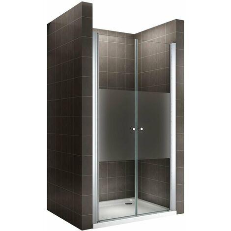 Porte de douche en verre transparent avec bande opaque - Hauteur 180 cm
