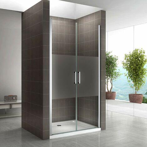 Porte de douche hauteur 195 cm - verre semi-transparent