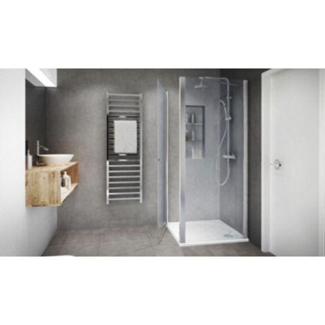 Porte de douche Ixia pivotante acces de face profil silver verre transparent Aquance