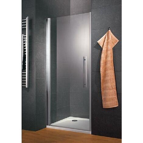Porte de douche pivotante 100 x 190 cm, verre 6 mm anticalcaire, profilé aspect chromé, Style, Schulte - Transparent