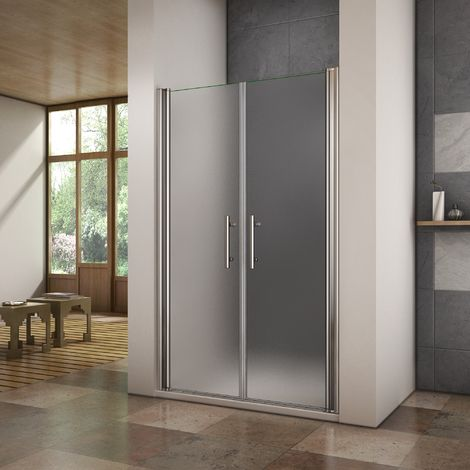 Porte de douche pivotante 120x195cm verre anticalcaire et verre dépoli cabine de douche en niche