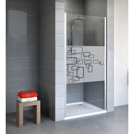 Porte de douche pivotante, 80 x 192 cm, verre 5 mm anticalcaire, profilé alu argenté, Style 2.0, Schulte, Softcube - Décor softcube