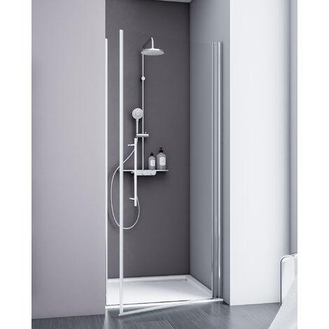 Porte de douche pivotante, 80 x 192 cm, verre 5 mm anticalcaire, profilé aspect chromé, Style 2.0, Schulte, décors au choix