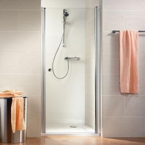 Porte de douche pivotante 80 x 200 cm, verre 6 mm transparent anticalcaire, profilé aspect chromé, Garda, Schulte - Transparent