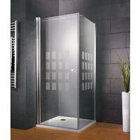 Porte de douche pivotante 80 x 80 cm + paroi latérale fixe, verre 5 mm, décor Cubic, Style 2.0, Schulte