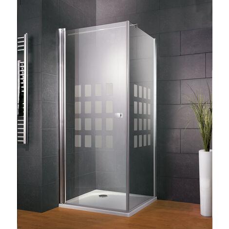 Porte de douche pivotante 80 x 80 cm + paroi latérale fixe, verre 5 mm, décor Cubic, Style 2.0, Schulte - Décor cubic