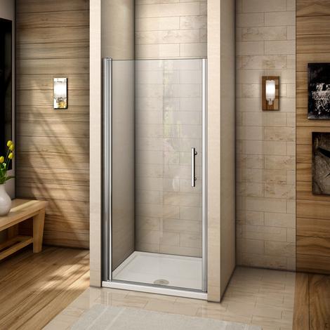 Porte de douche pivotante 80x195cm verre anticalcaire installation en niche avec le receveur de 80x120x3 cm