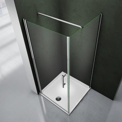 Porte de douche pivotante 80x80x195cm cabine de souche accès d'angle avec le receveur 80x80x3cm