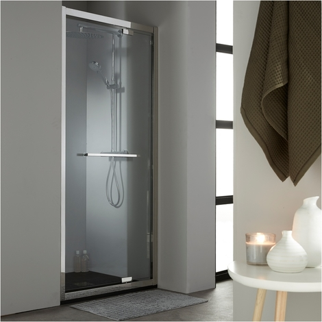 Porte de douche pivotante 90 cm en inox chrome