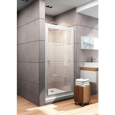 Porte de douche pivotante 90 x 180 cm, décor rayures, Schulte