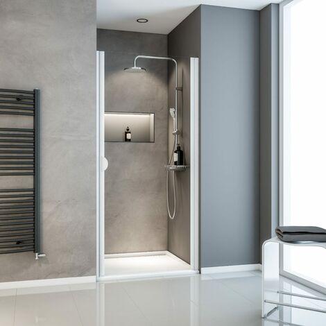 Porte de douche pivotante, 90 x 180 cm, verre transparent 5 mm, profilé blanc, Schulte