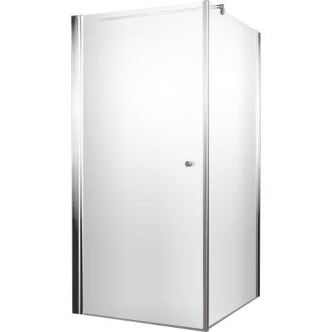 Porte de douche pivotante 90 x 90 x 185 cm paroi lat rale verre 5 mm anticalcaire profil - Porte de douche 90 ...