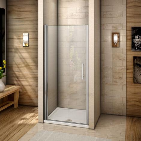 Porte de douche pivotante 90x195cm verre anticalcaire installation en niche avec le receveur de 90x90x3 cm