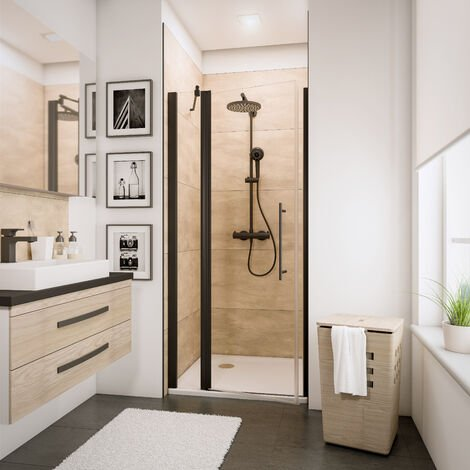 Porte de douche pivotante avec �l�ment fixe, verre 5 mm transparent anticalcaire, profil� noir, style industriel, Schulte, dimensions aux choix