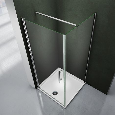 Porte de douche pivotante avec paroi de douche 80x80x195 cabine de douche avec le receveur 80x80x3 cm