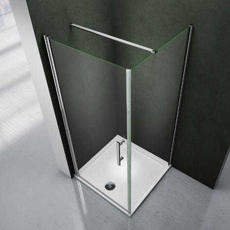 Porte de douche pivotante avec paroi de douche 90x90x195 cabine de douche avec le receveur 90x90x3 cm