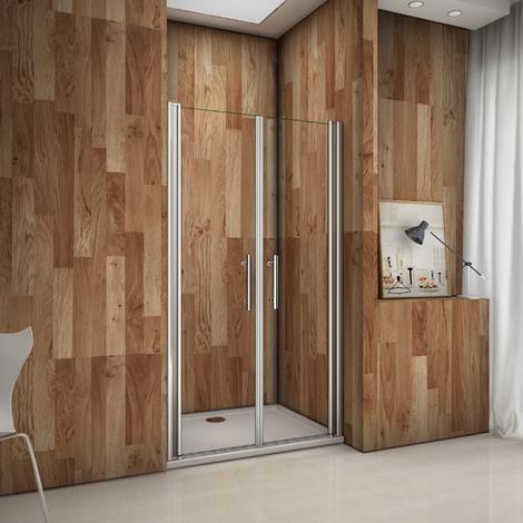Porte de douche pivotante en 185 cm verre anticalcaire cabine de douche installation en niche
