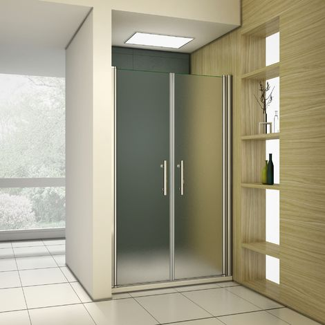Porte de douche pivotante en 195 cm verre anticalcaire et sablé installation en niche