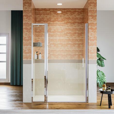 Porte de douche pivotante en niche avec paroi de supplémentaire fixe