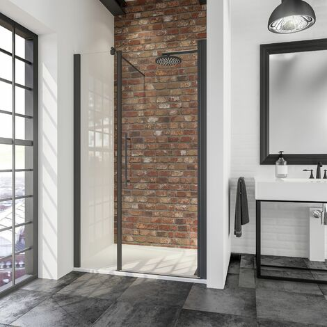 Porte de douche pivotante en niche, verre 5 mm transparent anticalcaire, profilé noir, style industriel, Schulte, 140 cm