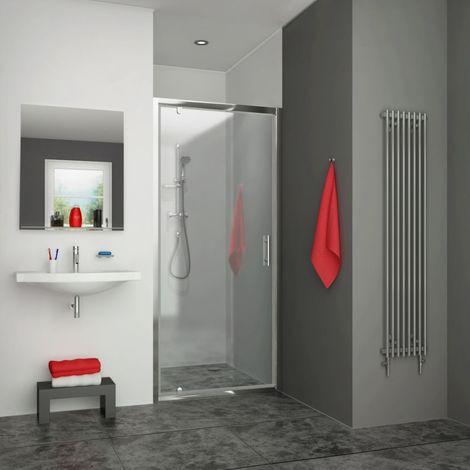 Porte de douche pivotante EQUI argent poli verre clair ht 1900mm 775-807