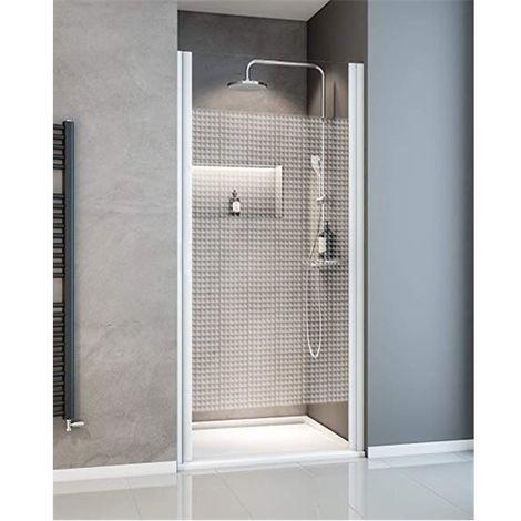 Porte de douche pivotante installation en niche 70 cm paroi en verre trempé serigraphié