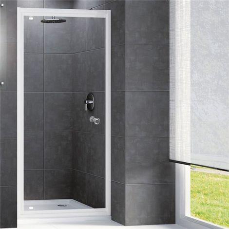 Porte de douche pivotante installation en niche 90 x 190 cm parois en verre trempé