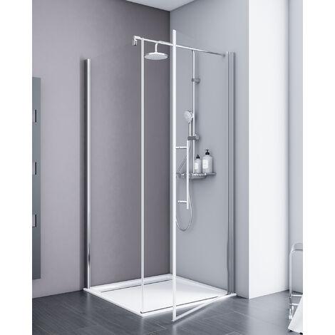 Porte de douche pivotante + paroi de retour fixe, 80 x 193 cm, verre 5 mm anticalcaire, Style 2.0, Schulte, décors au choix