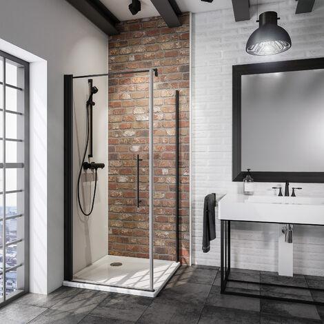 Porte de douche pivotante + paroi de retour fixe, verre 5 mm anticalcaire, style atelier industriel, profilé noir, Schulte, dimensions au choix