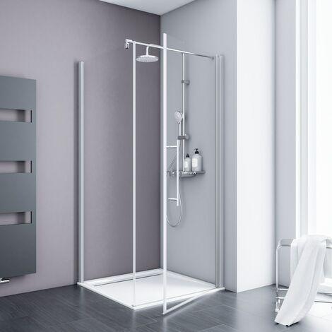 Porte de douche pivotante + paroi de retour fixe, verre 5 mm transparent anticalcaire, profilé alu-argenté, Schulte, dimensions au choix