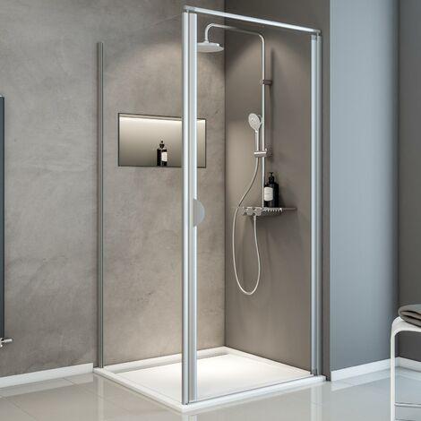Porte de douche pivotante + paroi de retour fixe, verre 5 mm transparent, Sunny ExpressPlus Schulte, profil� alu-nature