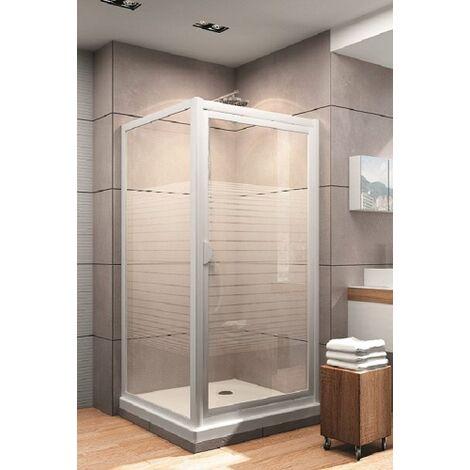 porte de douche pivotante + paroi latérale 90x90 cm, décor rayures, Schulte