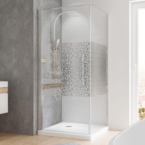 Porte de douche pivotante + paroi latérale Schulte, 90 x 90 x 190 cm, verre de sécurité décor galets chromés, profilé aspect chromé