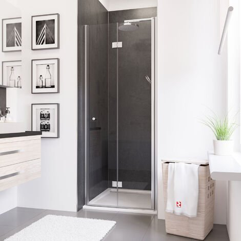 Porte de douche pivotante-pliante, verre 5 mm anticalcaire, profilé aspect chromé, Schulte, 80 x 192 cm, montage à droite