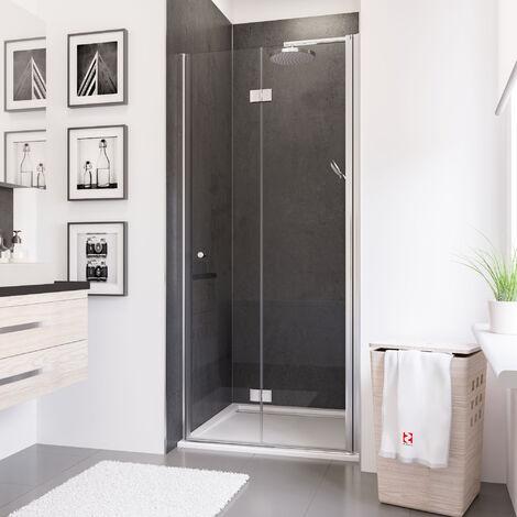 Porte de douche pivotante-pliante, verre 5 mm anticalcaire, profilé aspect chromé, Schulte, 80 x 192 cm, montage à gauche