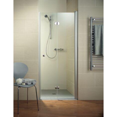 Porte de douche pivotante-pliante, verre 6 mm, profilé en aspect chromé, Garant, Schulte, 90 x 200 cm, ouverture vers la gauche