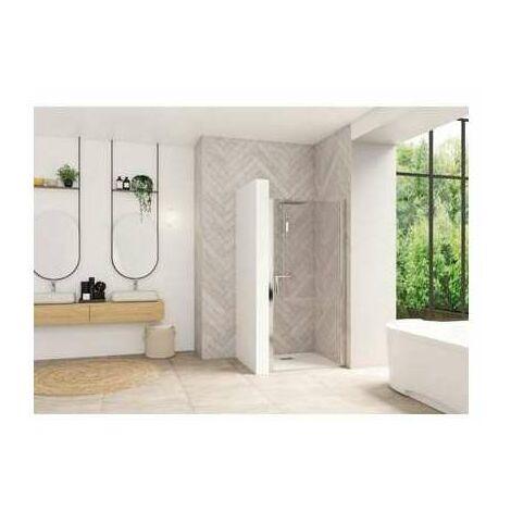 Porte de douche pivotante Smart Design - Sans seuil Porte - Verre transparent - 90 cm - Kinedo
