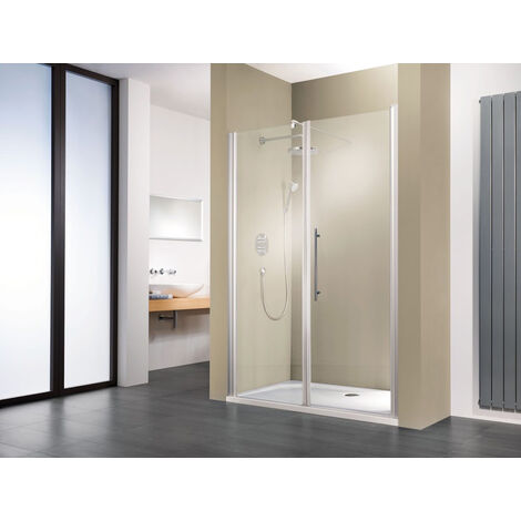 Porte de douche pivotante, verre 5 mm anticalcaire, grande niche, profilé aspect chromé, Style 2.0, Schulte, 160 x 192 cm