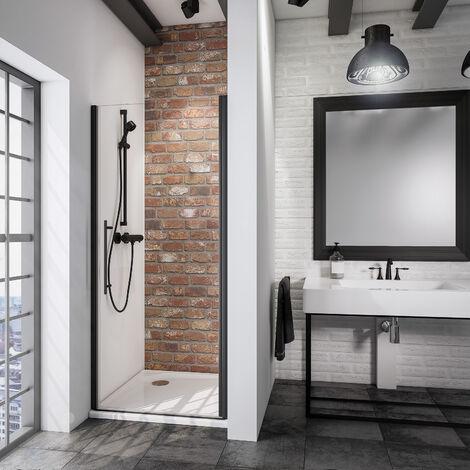 Porte de douche pivotante, verre 5 mm anticalcaire, style atelier industriel, profilé noir, Schulte, dimensions au choix