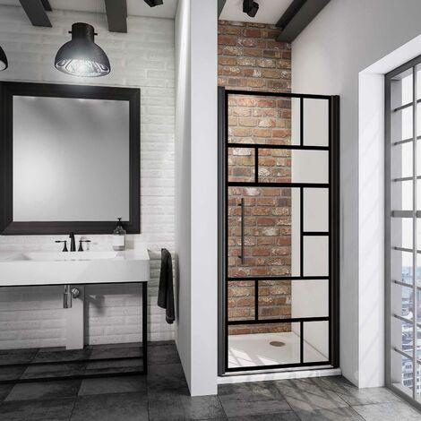 Porte de douche pivotante, verre 5 mm anticalcaire, style industriel Schulte, décor atelier, profilé noir, 90 x 192 cm