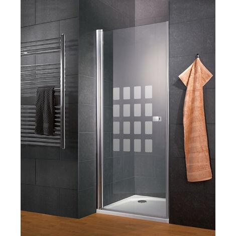 Porte de douche pivotante, verre 5 mm, décor Cubic transparent, profilé aspect chromé, Style 2.0, Schulte, 90 x 192 cm