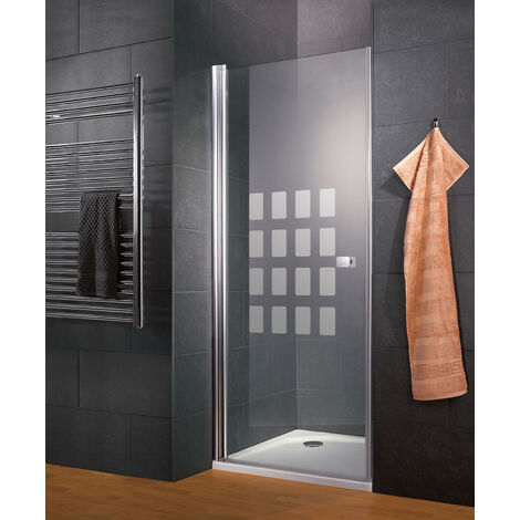 Porte de douche pivotante, verre 5 mm, décor Cubic transparent, profilé aspect chromé, Style 2.0, Schulte, 90 x 192 cm - Décor cubic Transparent