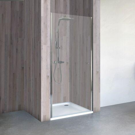 Porte de douche pivotante, verre 5 mm, profilé aspect chromé, Schulte, dimensions au choix