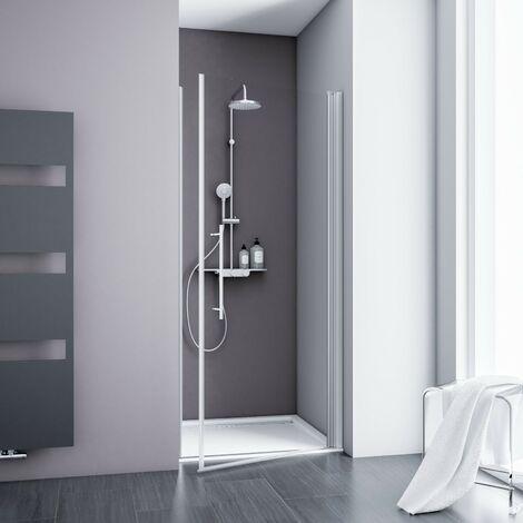 Porte de douche pivotante, verre 5 mm transparent anticalcaire, profilé alu-argenté, Schulte, dimensions au choix