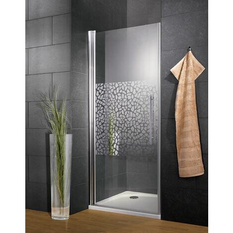 Porte de douche pivotante, verre 6 mm, décor galets chromés, profilé aspect chromé, Style, Schulte, 2 largeurs au choix
