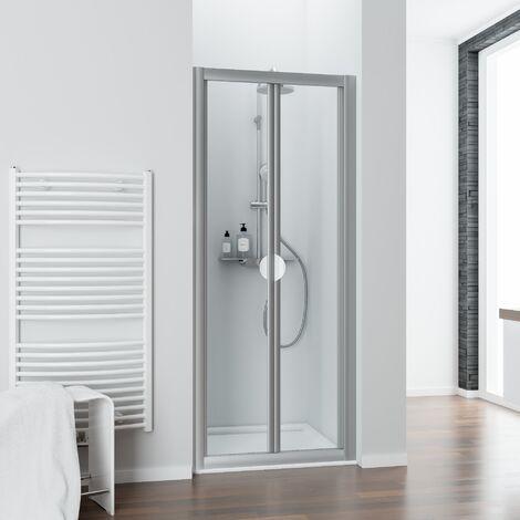 Porte de douche pliante, verre transparent, Phoenix II, Schulte, 80 x 185 cm, profilé blanc