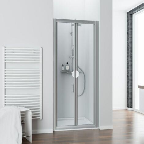 Porte de douche pliante, verre transparent, Phoenix II, Schulte, 90 x 185 cm, profilé blanc