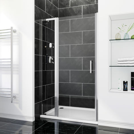 Porte de douche porte pivotante en niche avec paroi de supplémentaire/étagère en verre