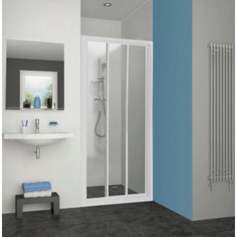 Porte de douche Pyra acces de face coulissante profil blanc verre transparent Aquance